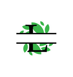 Initial l green leaf monogram split letter vector