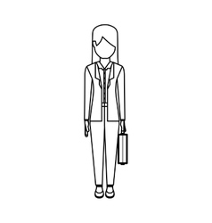 Isolated avatar woman with suitcase design vector image