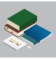 isometric books on background school vector image
