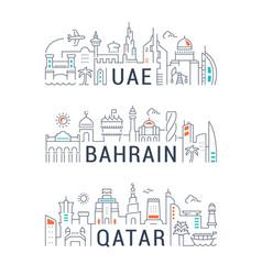 Linear banners uae bahrain qatar vector