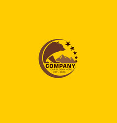 Logo symbol a bear bear with his child vector