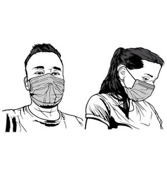 Man and woman with face mask vector
