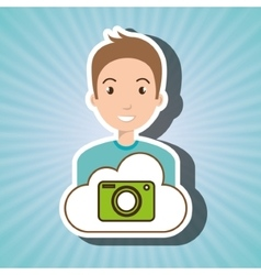 Man cartoon cloud camera vector