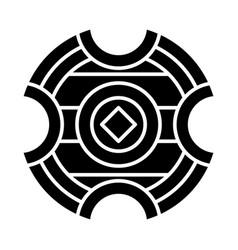 Medieval battle shield glyph icon vector