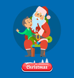 Merry christmas kid telling dreams to santa claus vector