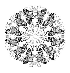 Monochrome black and white mandala vector