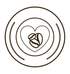 monochrome round contour with heart with coffee vector image