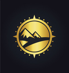 mountain adventure compass gold logo vector image