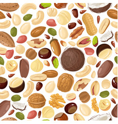 nuts seamless pattern pecan and almond macadamia vector image