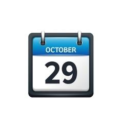 October 29 Calendar icon flat vector