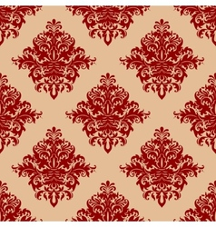 Ornate red vintage damask style seamless pattern vector
