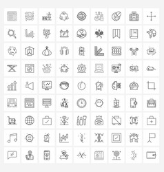 Pack 81 universal line icons for web vector