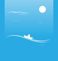 paper boat on a wave romantic blue card vector image