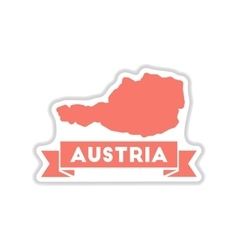 Paper sticker on white background map of Austria vector