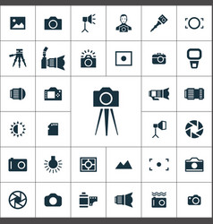 Photography icons universal set for web and ui vector