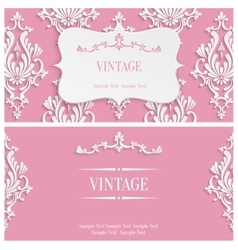 Pink 3d Vintage Invitation Template with vector