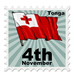 post stamp of national day of Tonga vector image