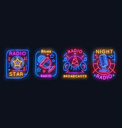 radio neon sign music glowing icons on air night vector image