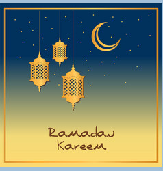 Ramadan card design with gold lanterns and stars vector