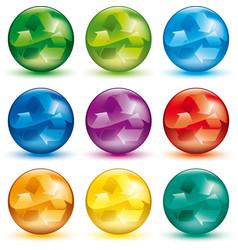 Recycle symbol in interior nine color vector