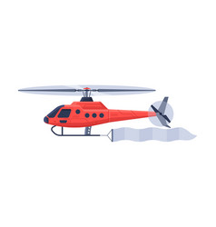 Red helicopter with banner flying in sky air vector