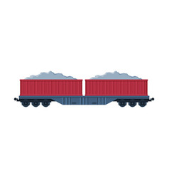 red loaded cargo train wagons railroad vector image