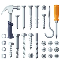 Repair tools flat icons set vector image
