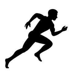 Runner man isolated silhouette on white background vector