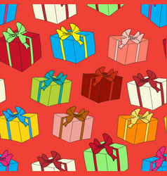 Seamless background with color gift boxes vector