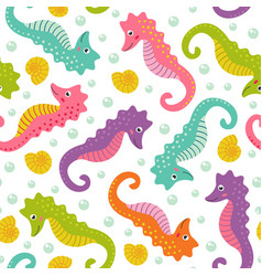 Seamless pattern with cute sea horse vector