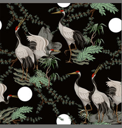 seamless pattern with japanese white cranes vector image