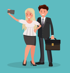 selfie office workers vector image