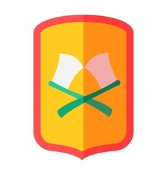 Shield with crossed axes icon flat style vector