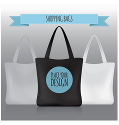 Shopping bags black white grey bag for your vector