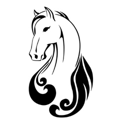 silhouette a horse head vector image