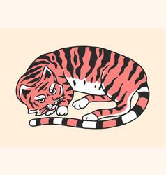 Sleeping cat or kitten meow power cute pet hand vector