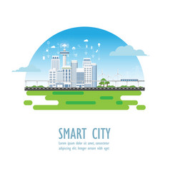 smart city with different icons and elements vector image