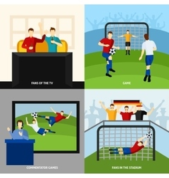 Soccer 4 flat icons square composition vector image