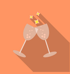 Sparkling champagne glasses icon in flat style vector
