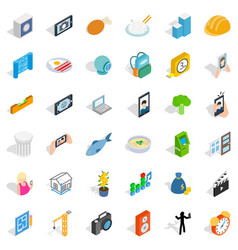 specific icons set isometric style vector image