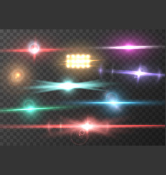 Transparent lens flare effect set vector