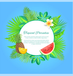 tropical paradise summer banner fruits palm vector image