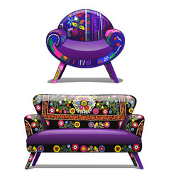 vintage sofa and chair with a bold pattern vector image