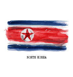 Watercolor painting flag of north korea vector