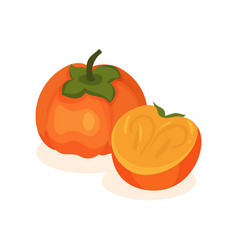 whole and half and ripe persimmon tasty and vector image