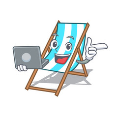 with laptop beach chair character cartoon vector image