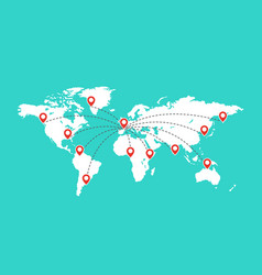 world map with red pointer marks globe vector image