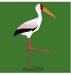 Yellow billed stork cartoon bird vector