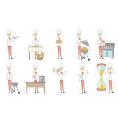 young caucasian chef set vector image