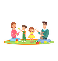 young family with kids home vector image